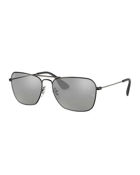 Ray-Ban Men's Rectangular Metal Sunglasses with Mirrored Lenses