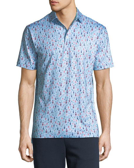 Peter Millar Men's Crawford Bloody Mary-Print Polo Shirt