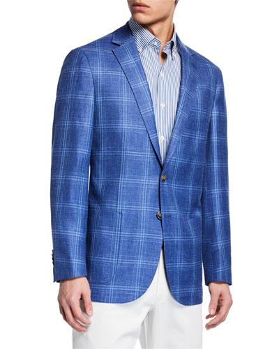 Men's Crown Classic Windowpane Two-Button Jacket