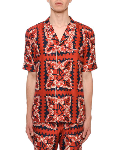 Men's Logo Bandana-Pattern Silk Short-Sleeve Sport Shirt