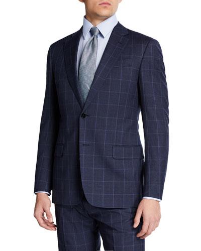 Men's Super 130s Tonal Windowpane Two-Piece Suit