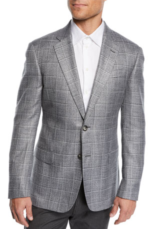 Emporio Armani Men's Bamboo Windowpane Sport Coat
