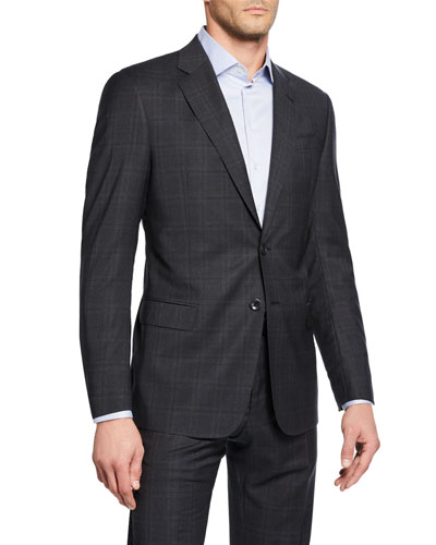 Men's Melange Windowpane Plaid Two-Piece Suit