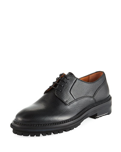 Men's Grained Leather Lug-Sole Derby Shoes