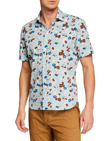 CULTURATA Men'S Extra Soft Short Sleeve Shirt in Blue