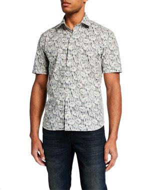 041075e40607 Culturata Men s Abstract Floral-Print Short-Sleeve Sport Shirt