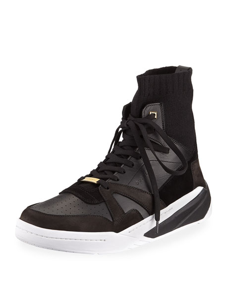 BUSCEMI Men'S 150Mm Leather High-Top Sock Sneakers in Black