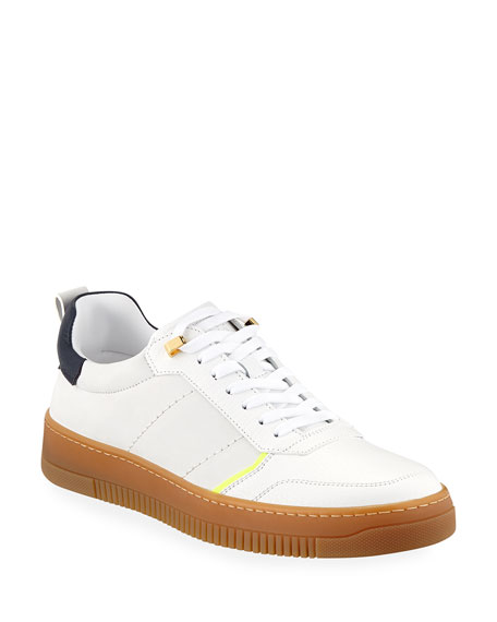 BUSCEMI Men'S Dome Leather Low-Top Sneakers in White