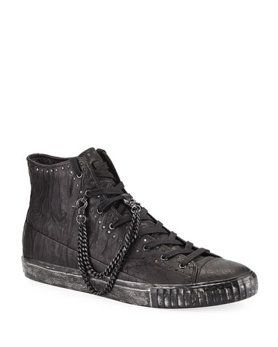 Men's Studded Mid-Top Leather Sneakers