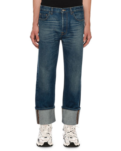 Men's Relaxed-Fit Cuffed-Hem Jeans