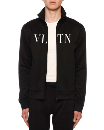 Men's VLTN Logo-Typographic Zip-Front Track Jacket