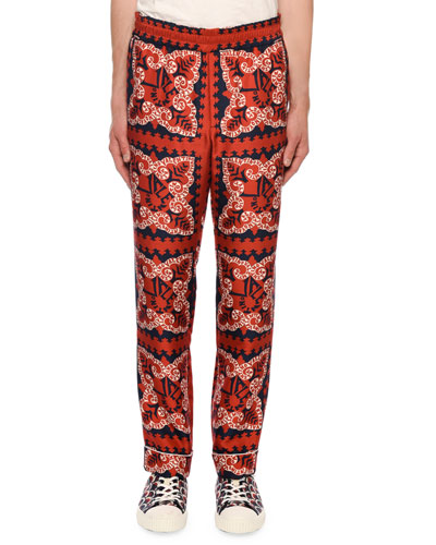 Men's Logo Bandana-Print Silk Pants