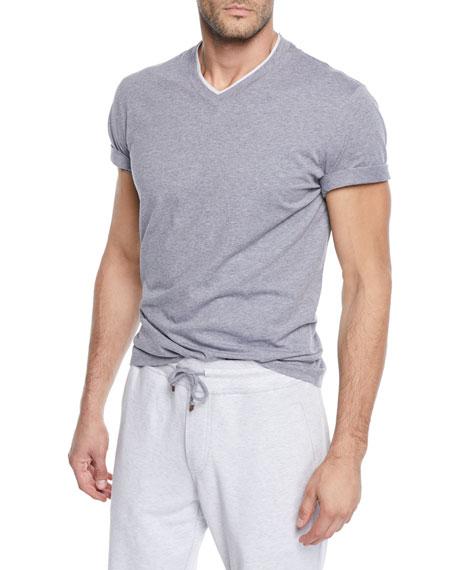Brunello Cucinelli Men's Tipped Jersey Knit V-Neck T-Shirt