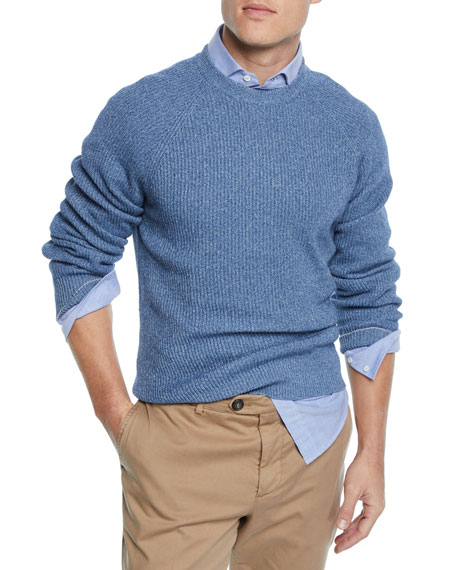 Brunello Cucinelli Men's Ribbed Donegal Sweater