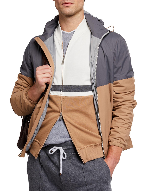 Brunello Cucinelli Men's Colorblock Zip-Front Coat w/ Packable Hood