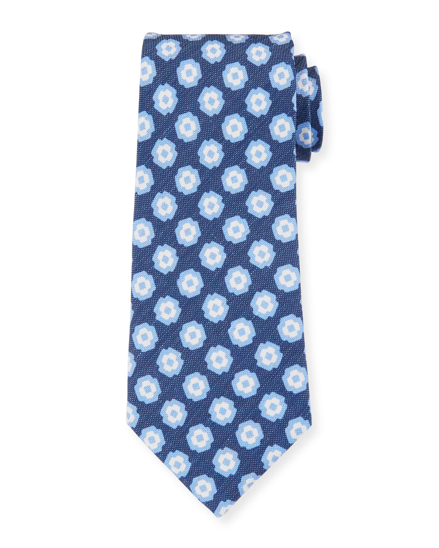 Petronius 1926 Camargue Large-Floral Printed Tie, Blue