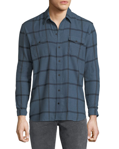 Men's Everett Grid-Pattern Sport Shirt