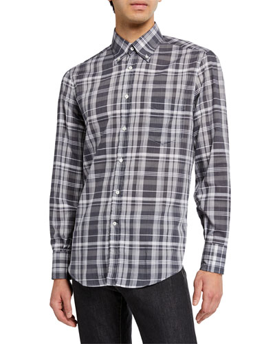 Men's Madras Plaid Sport Shirt