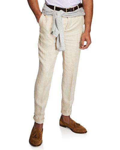Men's Linen Flat Front Pants
