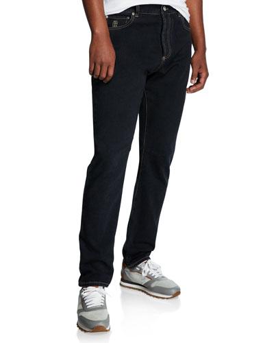 Men's Contrast-Topstitched Leisure-Fit Denim Pants