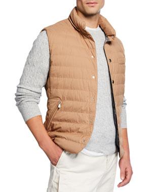 cb0175e3fc4 Brunello Cucinelli Men s Snap Vest with Removable Hood