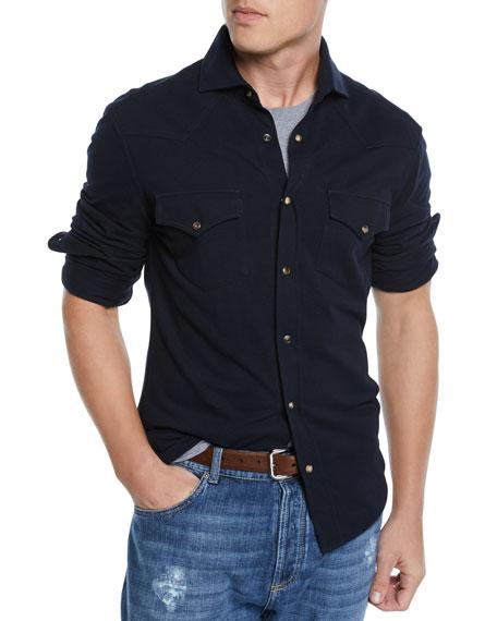 Brunello Cucinelli Men's Jersey Western Shirt
