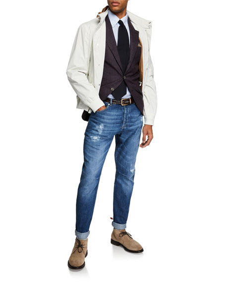 Men's Nylon Coat with Packaway Hood