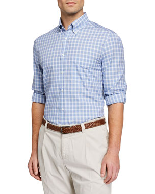 4bc7a900a3d Brunello Cucinelli Men s Cotton-Twill Check Sport Shirt