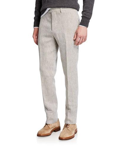 Men's Linen Flat-Front Striped Pants