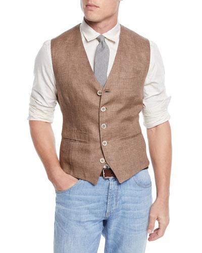 Men's Linen Gilet Vest