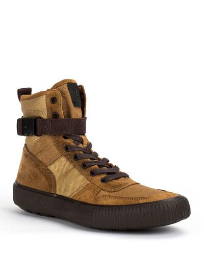 Men's Canvas and Suede Combat Sneakers