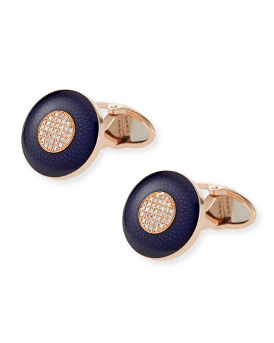 Engine Turn 18k Pink Gold & Blue Enamel Cuff Links