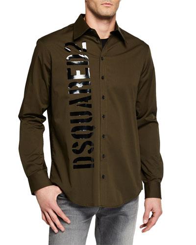 Men's Long Sleeve Graphic Logo Sport Shirt