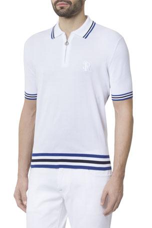 Stefano Ricci Men's Short-Sleeve Zip Polo Shirt with Stripes