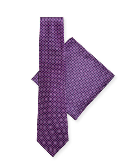 Stefano Ricci Dot-Pattern Silk Tie & Pocket Square