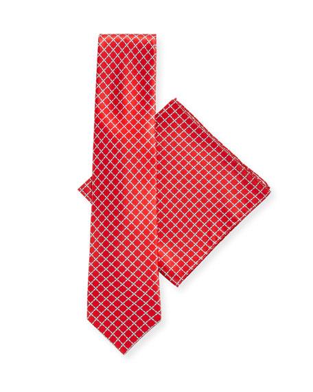 Stefano Ricci Arrow-Print Silk Tie & Pocket Square