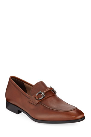 Salvatore Ferragamo Men's Benford Textured Leather Slip-On Bit Loafers