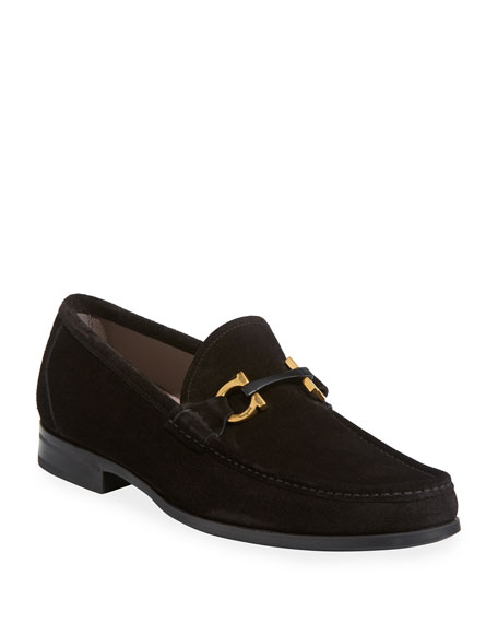 Salvatore Ferragamo Men's Grandioso Suede Loafer In Nero/Nero