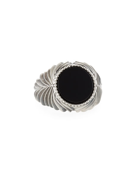 Emanuele Bicocchi Men's Feathered Black Onyx Ring