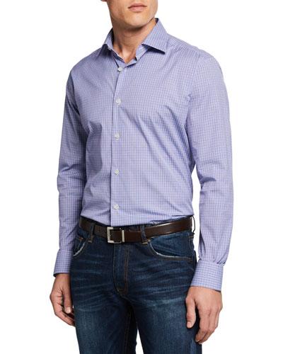 Men's Mini-Plaid Sport Shirt