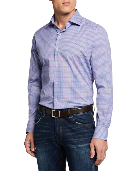 Men's Mini-Plaid Sport Shirt