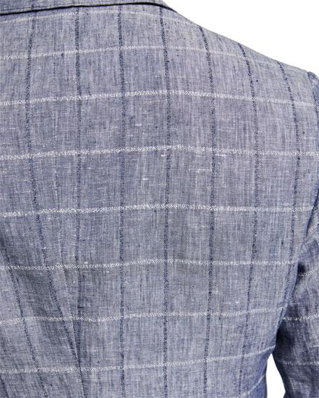 Men's Grid-Plaid Linen Sport Jacket