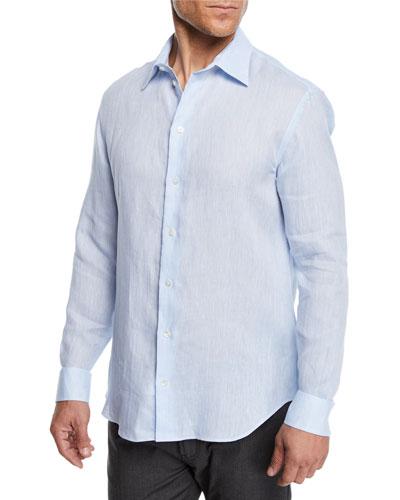 Men's Linen Sport Shirt  Light Blue