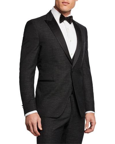 Men's Broken Plaid 3-Piece Peak-Lapel Tuxedo Suit
