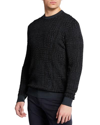 Men's Animal-Pattern Crewneck Sweater