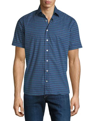 Men's Graphic Stripe Short-Sleeve Sport Shirt