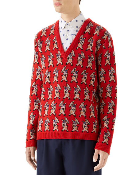 Gucci Men's Pig-Intarsia V-Neck Sweater