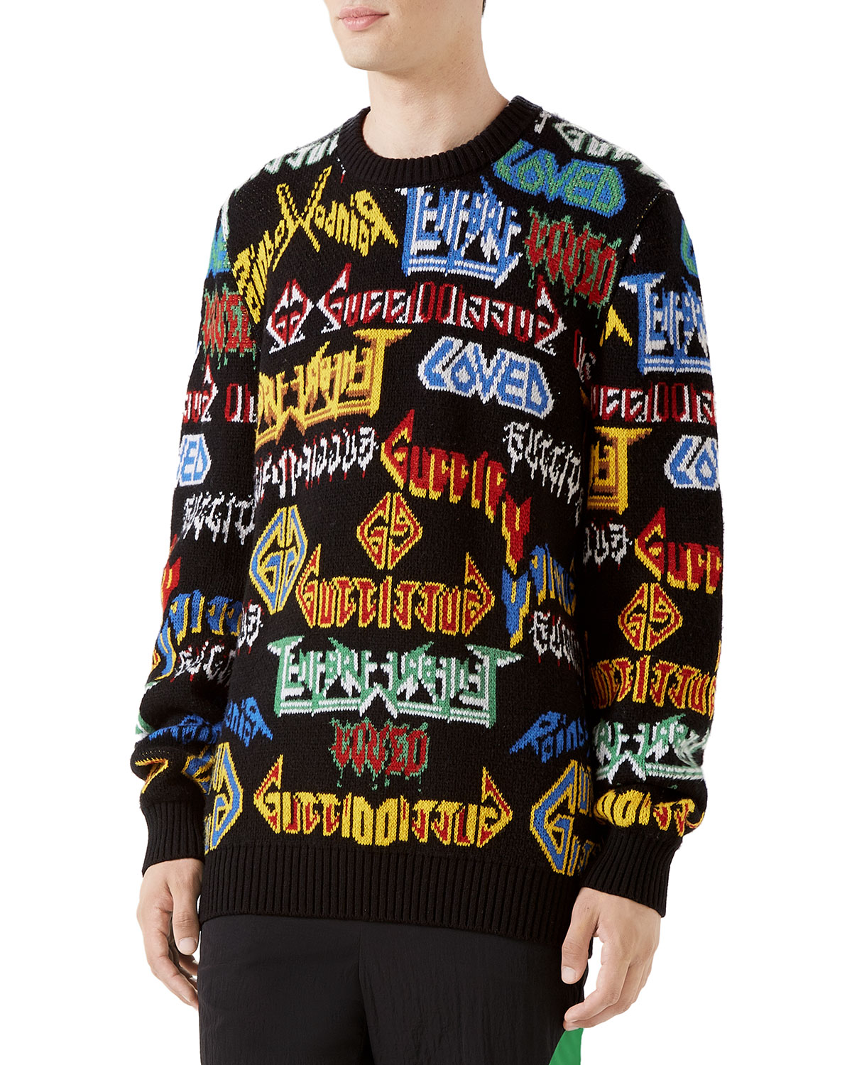 5a360c0cda9 Gucci Men s Medley Logo Intarsia-Knit Sweater