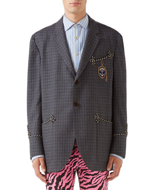 f6cd97cfae1 Gucci Men s Rope-Trip Check Two-Button Jacket
