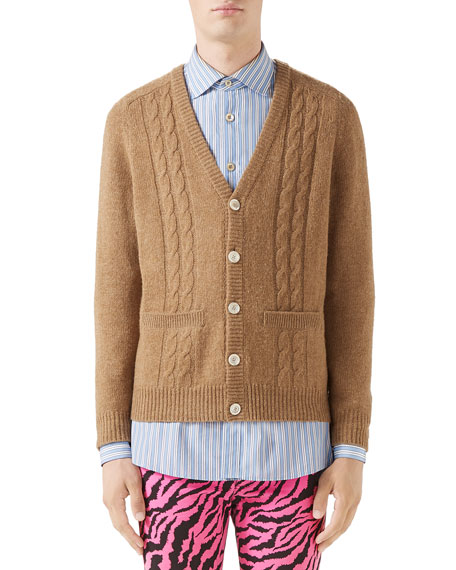Gucci Men's Cable-Knit Wool Cardigan